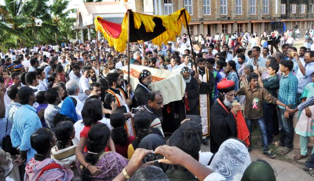 The mortal remains of the first archbishop of the Malankara Catholic Church Mar Ivanios being taken out in a special casket the St. Mary's Cathedral, Pattom, on Monday as part of the ongoing process to canonise him. / The Hindu