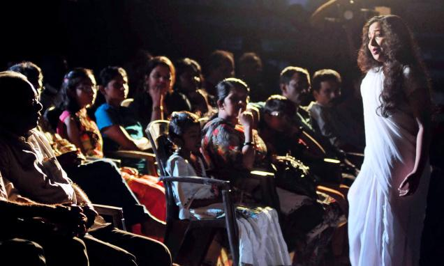 A scene from the solo docudrama 'Soja Rajakumari,' featuring 10 female characters from Vaikom Mohammed Basheer's novels, staged at the Vyloppilly Samskrithi Bhavan in the city on Saturday. /  Photo:S. Gopakumar / The Hindu