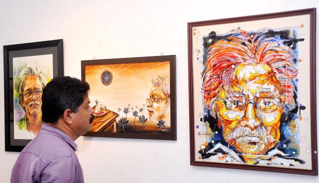 LINES AND STROKES: Paintings exhibited at the Kerala Lalithakala Akademi Art Gallery in Kozhikode as part of poet A. Ayyappan commemoration programme. PHOTO: K. RAGESH / The Hindu