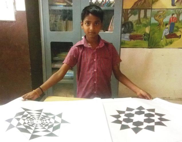 B.S. Karthik's intricate geometric designs create the illusion of depth. /  Photo: special arrangement / The Hindu