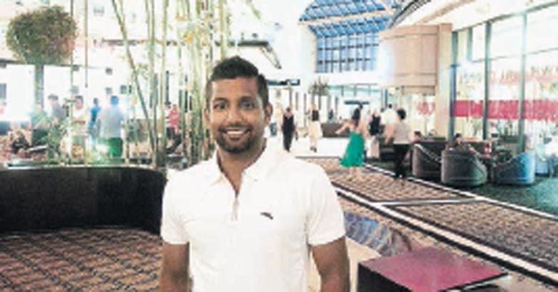 Krishna Chandran at the hotel lobby in Perth. Manorama.