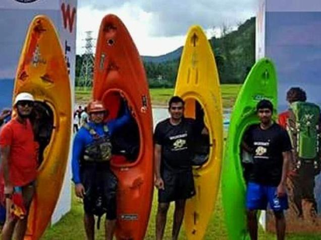 Participants of the beginners' boater cross event of the Malabar River Festival at Kakkayam in Kozhikode on Friday. Special Arrangement