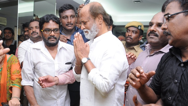 Actor Rajinikanth paying homage to legendary musician MS Viswanathan on July 14. | EPS