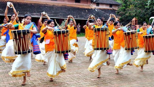 Sinkari Melam by Kudumbasree members in Kozhikode .– Photo: S. Ramesh Kurup