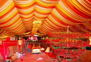 Work in progress at the venue of Ravi Pillai's daughter's wedding at Kollam. (TOI)