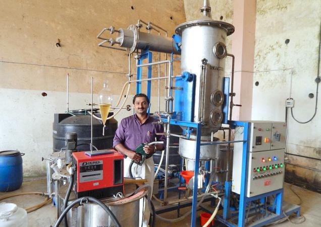 John Abraham of KVASU at the biodiesel plant set up on the premises of the Veterinary College at Pookode in Wayanad district.— PHOTO: BY SPECIAL ARRANGEMENT